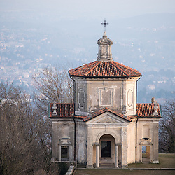Chapel in Santa Maria Del Monte in Varese, Italy at sunset. Unesco, World Heritage Site.