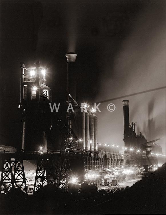 1960s CF&I Steel night view of blast furnace row