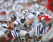Ole Miss defensive end E.J. Epperson (33) forces Central Arkansas' Jackie Hinton (5) to fumble at Vaught-Hemingway Stadium in Oxford, Miss. on Saturday, September 1, 2012.