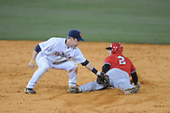 Austin Peay's Michael Blanchard (2) is safe at second as Ole Miss' Alex Yarbrough (2) applies the tag at Oxford-University Stadium in Oxford, Miss. on Tuesday, March 1, 2010.