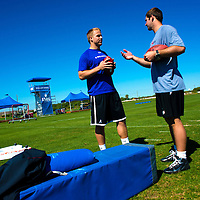 2/18/13 11:53:00 AM -- Bradenton, FL, U.S.A. -- NFL prospect quarterbacks Matt Barkley, left, and Tyler Wilson (Arkansas) chat as they work out at IMG Academy in Bradenton, Fla., in preparation for this year's NFL Combine.  -- ...Photo by Chip J Litherland, Freelance.