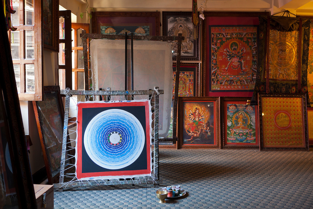 A mandala on display inside a thankga painting school. The traditional Tibetan art dates back to the 7th century CE.