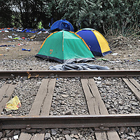 Abandoned tents used by refugees just inside the Hungarian border from Serbia close to the town of Röszke