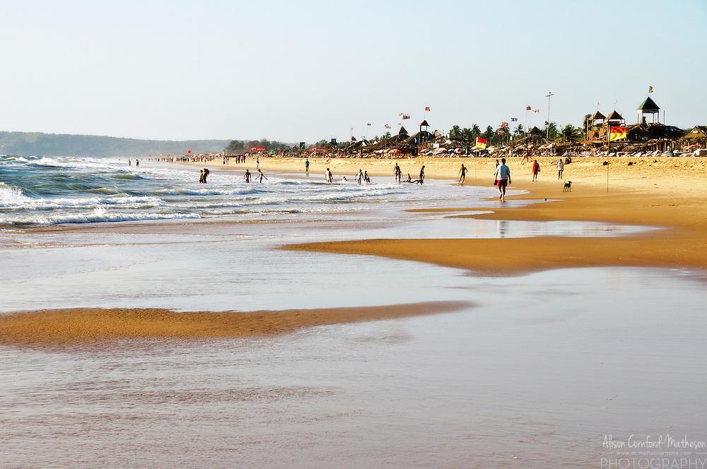Candolim Beach, Goa, India, is a popular holiday destination on the Indian coast.