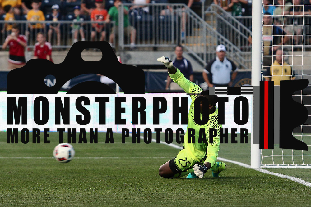 Chicago Fire Keeper SEAN JOHNSON (25) attempts to stop a free kick in the second half of a Major League Soccer match between the Philadelphia Union and Chicago Fire Wednesday, June. 22, 2016 at Talen Energy Stadium in Chester, PA.