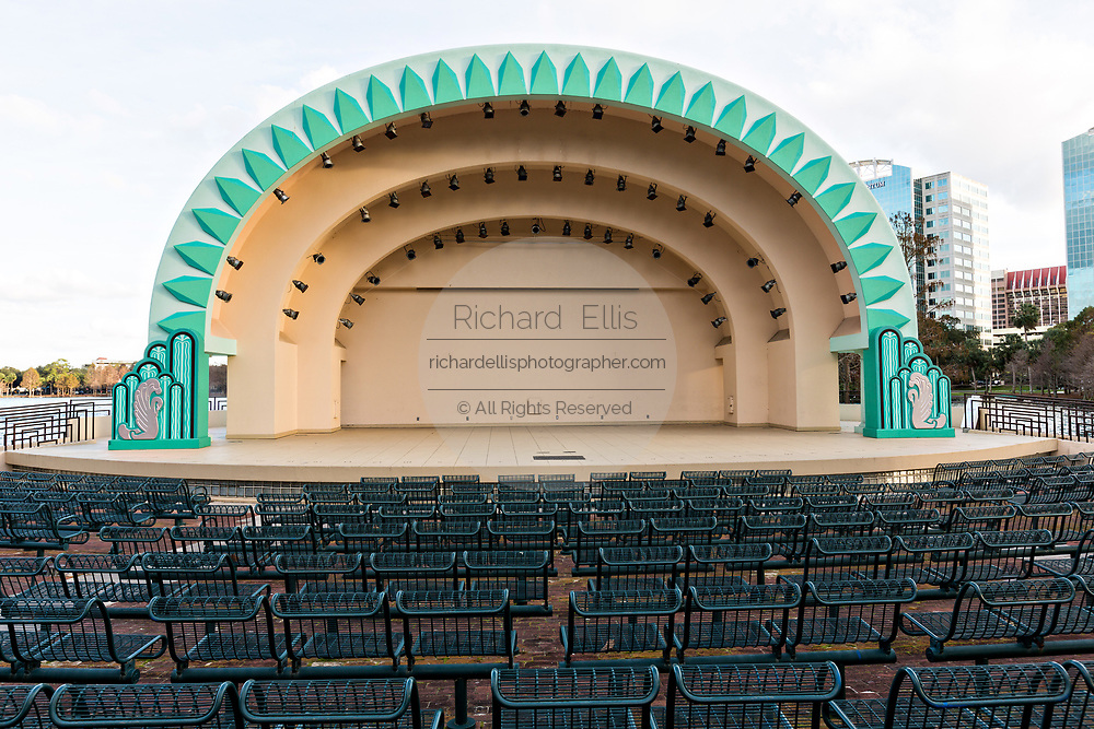 The historic Walt Disney Amphitheater at Lake Eola Park in Orlando, Florida. Lake Eola Park is located in the heart of Downtown Orlando.