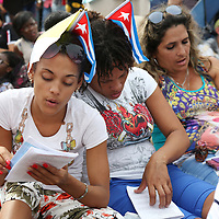 (092015  Havana, Cuba) Worshippers sing a hymn as Pope Francis celebrates Mass at the Plaza de la Revolucion in Havana, Sunday,  September 20, 2015. photo by Angela Rowlings.