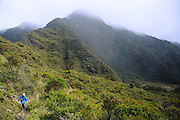 350803-1015 ~ Copyright: George H. H. Huey ~ Hiking the Kaupo Trail, deep in the Haleakala Wilderness Area.  Haleakala National Park, Maui, Hawaii