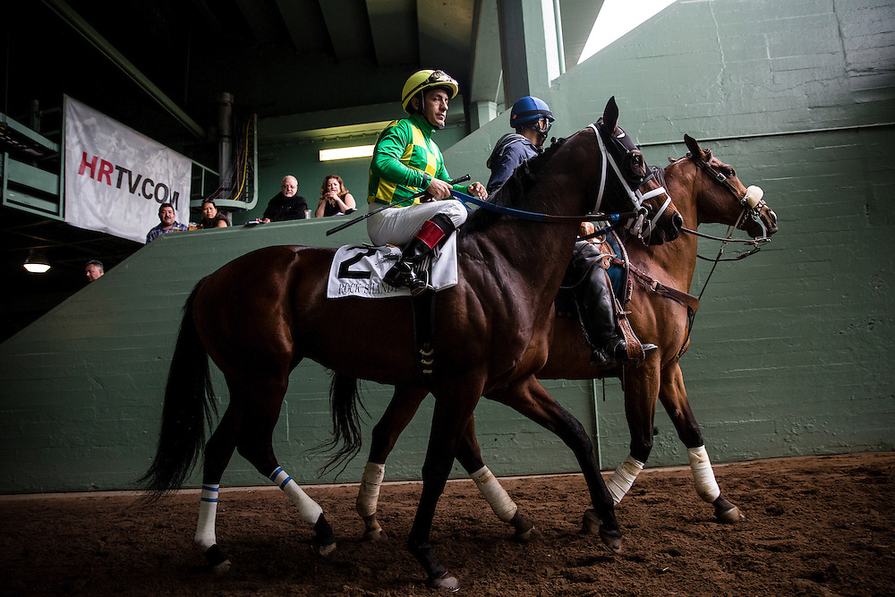 February 07 2015: Rock Shandy at the Bob Lewis Stakes aboard Dortmund at Santa Anita Park in Arcadia CA. Alex Evers/ESW/CSM