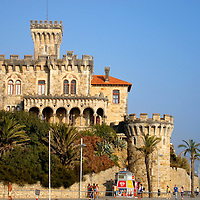 Cruz Fort on Tamariz Beach in Estoril, Portugal<br /> The full name of this fortress along Tamariz Beach is the Fort of Santo Ant&oacute;nio da Cruz.  It was created as a residence in the late 19th century by a wealthy man named Jo&atilde;o Martins de Barra.  Apparently he built it for his terminally ill daughter but I am sure he also loved the wonderful view of the Atlantic Ocean.