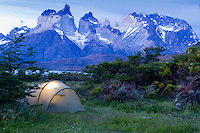 Camping with a view towards the mountains, Torres del Paine, Chile