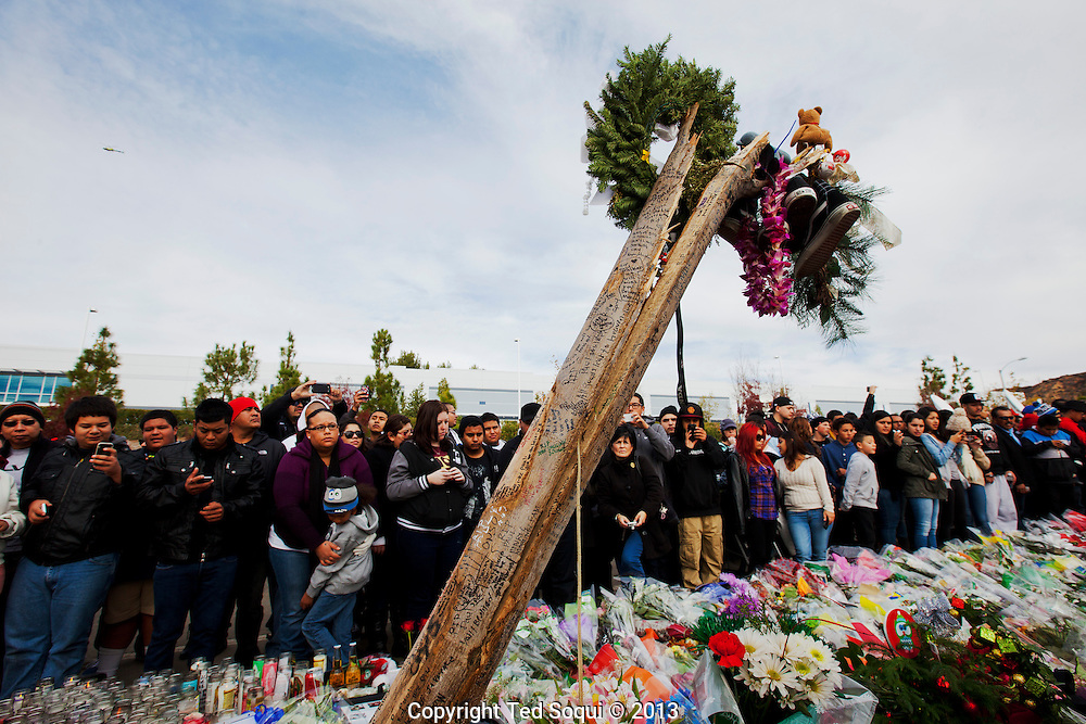 A tree that broke apart as Roger Roadas' car hit. during the accident.<br /> An informal street memorial for Paul Walker, key actor in the &quot;Fast and Furious&quot; film enterprise, and Roger Rodas, race car driver, who were both killed in a solo car auto accident in Valencia, CA. The memorial was held at the crash site, and featured several cars Paul Walker drove in the &quot;Fast and Furious&quot; films. Thousands of fans and car enthusiast showed up to pay their respects.