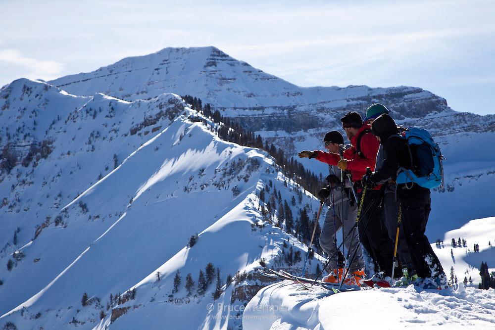 Backcountry skiers on   Mt. Timpanogos, Utah