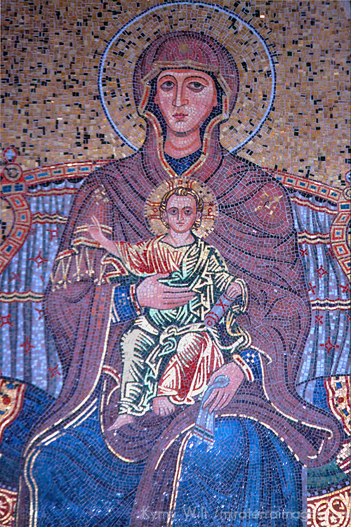 Europe, Italy, Sicily, Taormina. Mosaic of Madonna and child.