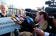 UTRECHT Geert Wilders PVV demonstrates at NO HATE imams Utrecht Islamic foundation alFitrah in Overvecht. The foundation holds the Third Islamic Conference Rif. COPYRIGHT ROBIN UTRECHT <br /> UTRECHT geert wilders pvv demonstreerd bij GEEN HAATIMAMS de  Utrechtse islamitische stichting AlFitrah in de wijk Overvecht. De stichting houdt er de Derde Riffijnse Islamitische Conferentie. COPYRIGHT ROBIN UTRECHT