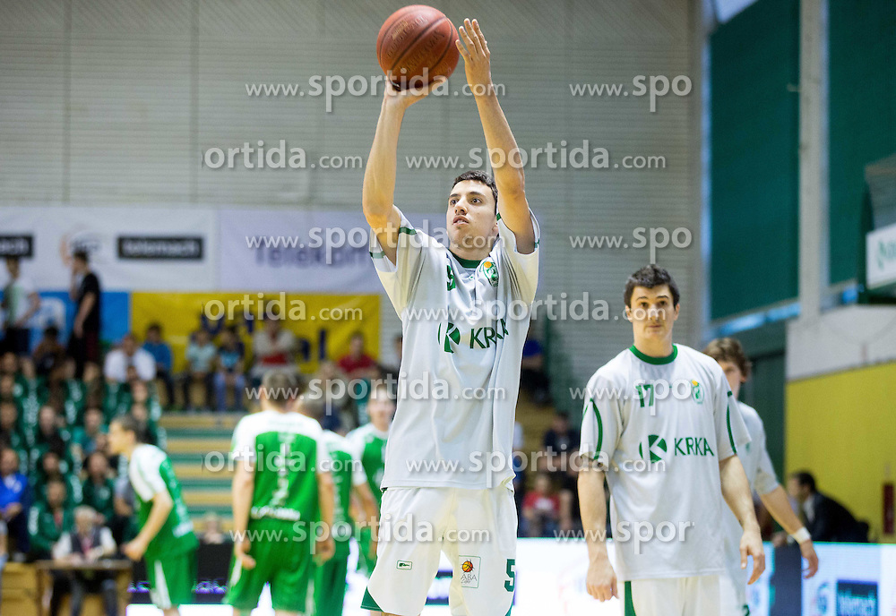 Erjon Kastrati of Krka prior to the basketball match between KK Krka and KK Union Olimpija Ljubljana in 3rd Final match of Telemach League - Slovenian Championship 2013/14 on May 27, 2014 in Dvorana Leona Stuklja, Novo mesto, Slovenia. Photo by Vid Ponikvar / Sportida