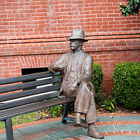 Bronze statue of author William Falkner, on the square in Oxford Mississippi.