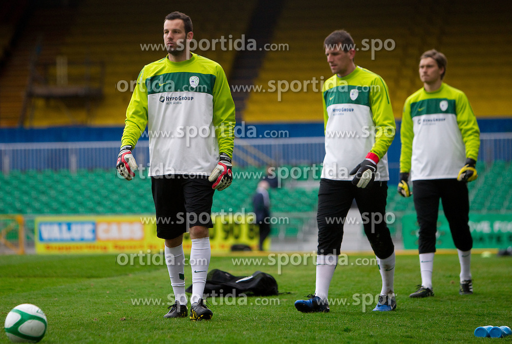 Samir Handanovic, Jasmin Handanovic and Vid Belec during practice session of Slovenia National football team One day before EURO 2012 Quaifications game between National teams of Slovenia and Northern Ireland, on March 28, 2011, in Windsor Park Stadium, Belfast, Northern Ireland, United Kingdom. (Photo by Vid Ponikvar / Sportida)
