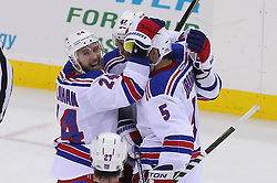 May 25, 2012; Newark, NJ, USA; The New York Rangers celebrate a goal by New York Rangers right wing Ryan Callahan (24) during the second period in game six of the 2012 Eastern Conference finals at the Prudential Center.