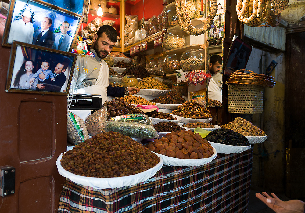 Spices, herbs and nuts market.