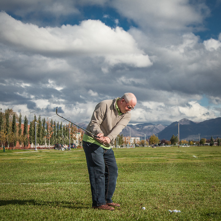 "Economist Marcus Hartley takes a break from work at his office to hit a few balls on the Delaney Park Strip on, this, the first day of fall.  ""There won't be too many more days for this…"""