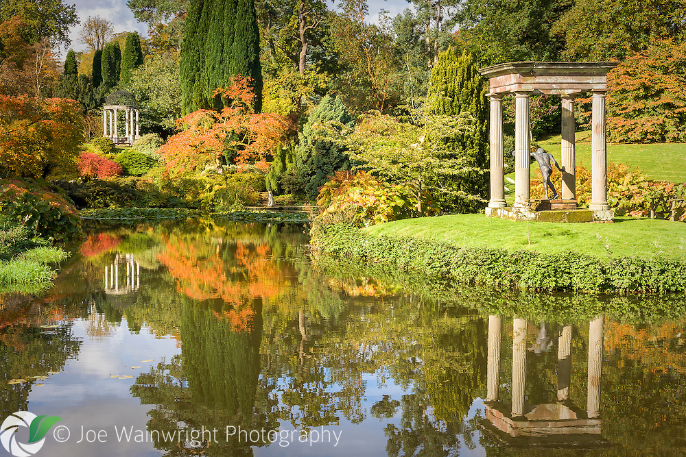 Autumn hues transform the serenely beautiful Temple Garden at Cholmondeley Castle, Cheshire.
