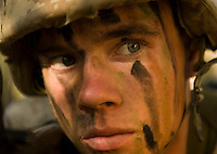 Marine Corps recruit Charles Maloy watches his perimeter during training at Parris Island, S.C., on Nov. 24, 2007. (Photo by Stacy L. Pearsall)