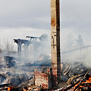 Ian Stewart/Yukon News<br /> The historic Watson Lake Hotel burned to the ground early Saturday morning. The empty hotel was recently bought by the Liard First Nation.