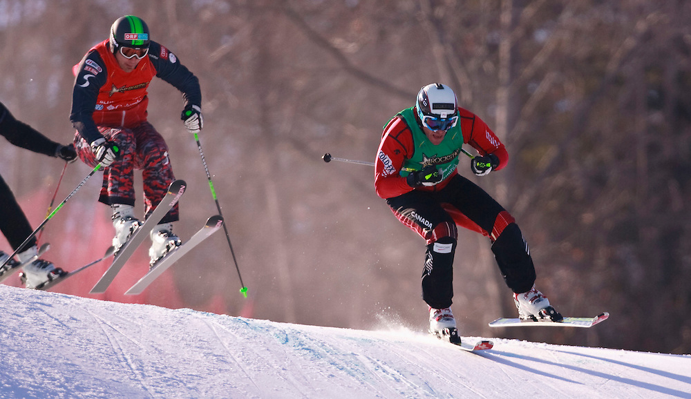 -20110211- Collingwood, Ontario,Canada -- Canada's Christopher Delbosco leads during the final of the Rockstar Ski Cross Grand Prix race at Blue Mountain in Collingwood, Ontario, February 11, 2011.<br /> AFP PHOTO/Geoff Robins