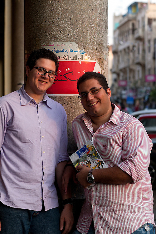 "Division Publishing co-founders Marwan Imam (l) and Mohamed Reda pose for a portrait August 30, 2011 in Cairo, Egypt. The two 24 year old Cairo residents have launched a bimonthly graphic novel series called ""Autostrade"" and hope their Division Publishing company will become a launching pad for other graphic novels. (Photo by Scott Nelson for the National)"