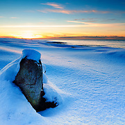 Snowcovered landscape at Tungenes, Randaberg, Norway.