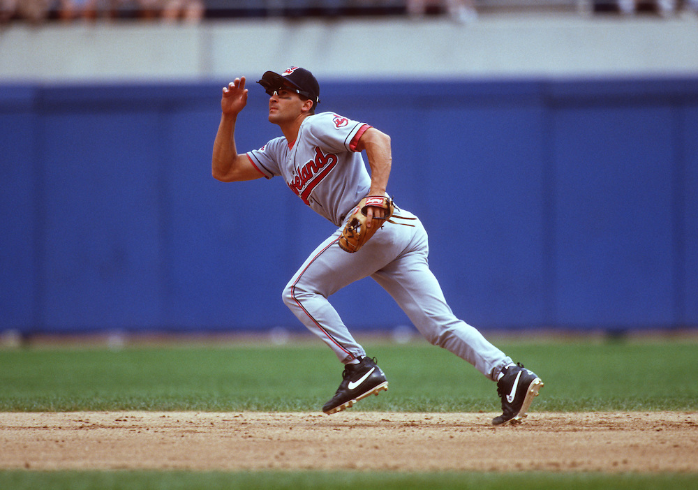 CHICAGO - UNDATED:  Omar Vizquel of the Cleveland Indians fields during MLB game at Comiskey Park in Chicago, Illinois.  Vizquel played for the Indians from 1994-2004.  (Photo by Ron Vesely)