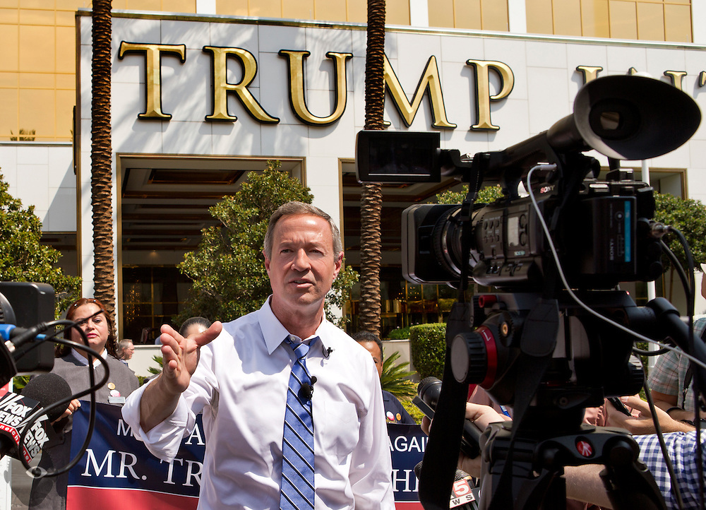 Governor Martin O'Malley holds a media conference outside of Trump International before his address to the 59th Annual Nevada AFL-CIO Constitutional Convention. on Wednesday, August 19, 2015.