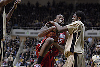 Ohio State forward David Lighty (23) goes up and is fouled by Purdue guard Kelsey Barlow (12) in the second half of the 76-63 Purdue win over Ohio State at Mackey Arena in West Lafayette, Indiana. Andy Gottesman / Multimedia Editor.