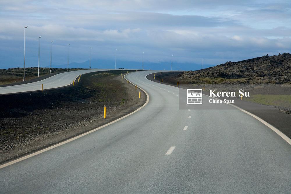 Two-lane freeway, Reykjavik, Iceland