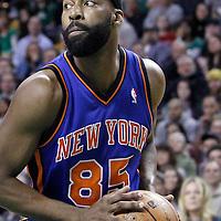 04 March 2012: New York Knicks point guard Baron Davis (85) is seen during the Boston Celtics 115-111 (OT) victory over the New York Knicks at the TD Garden, Boston, Massachusetts, USA.