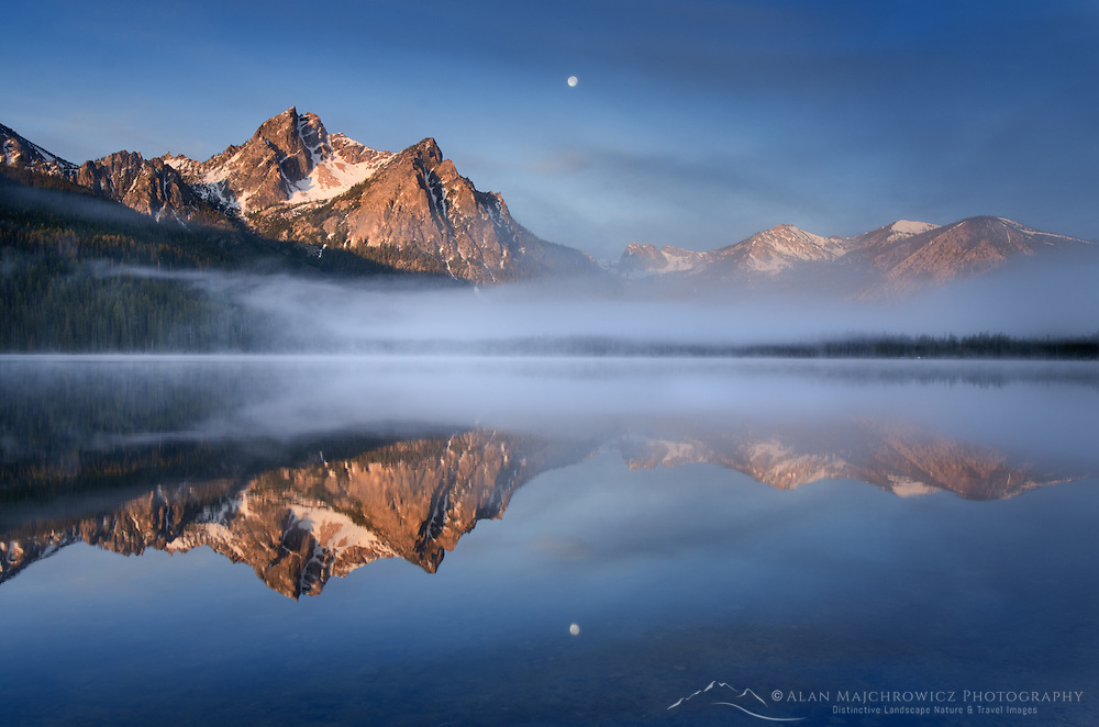 Moon setting over McGown Peak and Stanley Lake, Sawtooth Mountains, Idaho