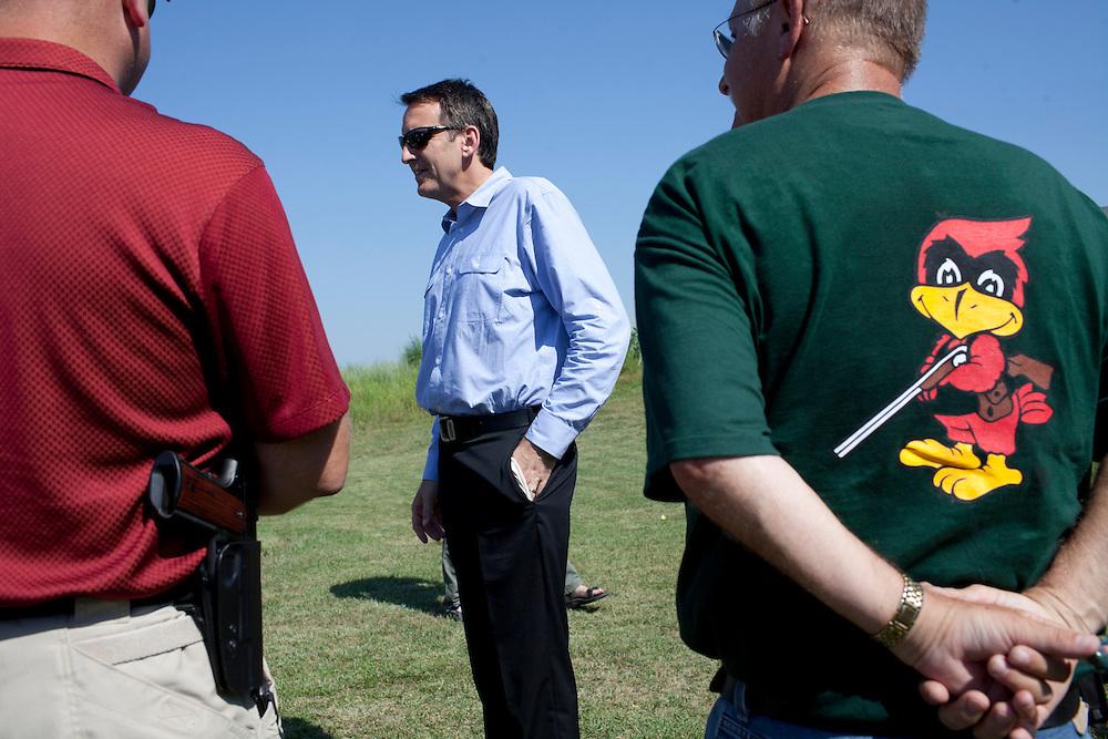 Republican presidential hopeful Tim Pawlenty campaigns at a gun range on Wednesday, July 20, 2011 in Madrid, IA.