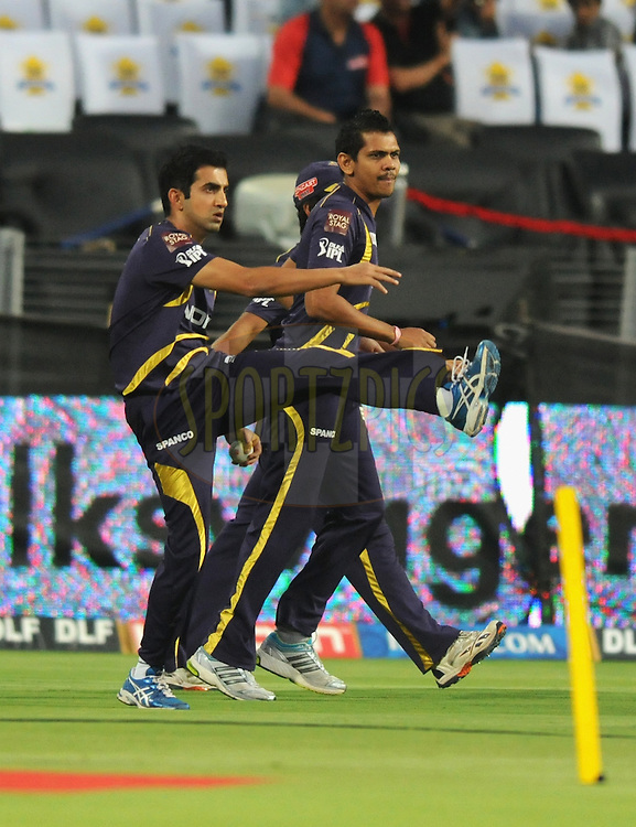 Gautam Gambhir captain of Kolkatta Knight Riders during a practice session before the start of first Qualifying match of the Indian Premier League ( IPL) 2012  between The Delhi Daredevils and The Kolkata Knight Riders held at the Subrata Roy Sahara Stadium, Pune on the 22nd May 2012..Photo by Pal Pillai/IPL/SPORTZPICS