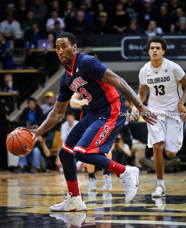 SHOT 2/26/15 9:36:34 PM - Arizona's Rondae Hollis-Jefferson #23 pushes the ball upcourt against Colorado during their regular season Pac-12 basketball game at the Coors Events Center in Boulder, Co. Arizona won the game 82-54.<br /> (Photo by Marc Piscotty / &copy; 2015)