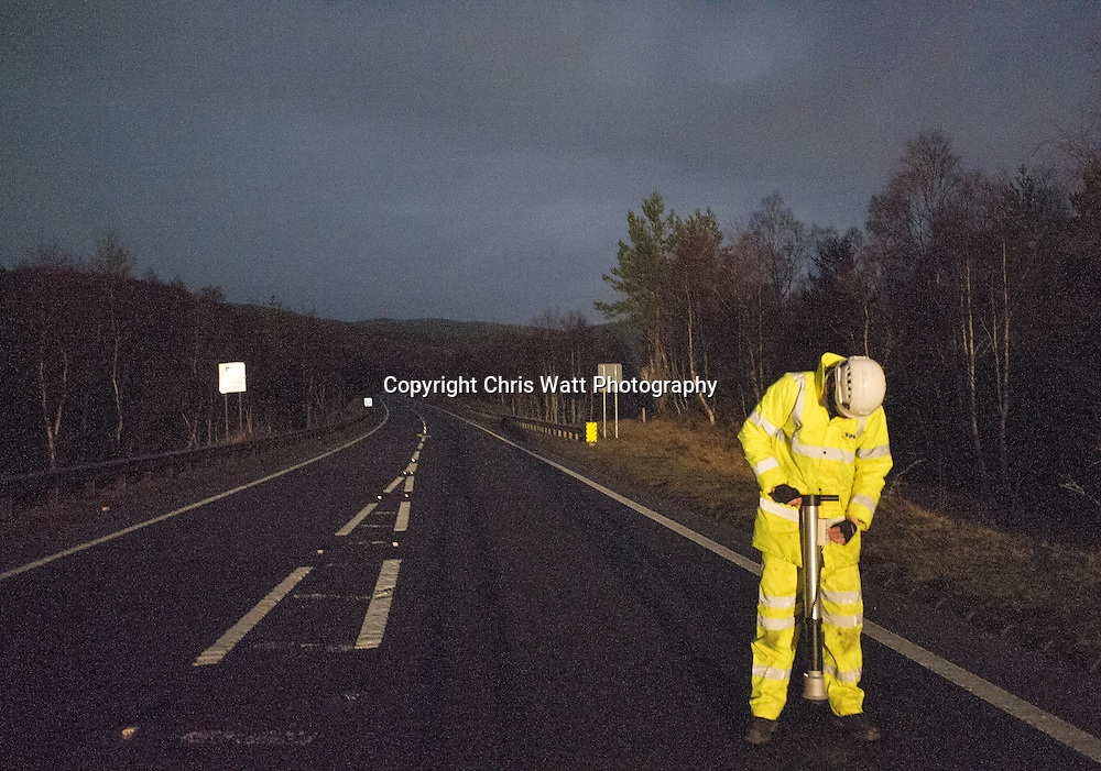 Picture Copyright Chris Watt 07887 554 193<br /> <br /> A9 Brine and road salt testing, Kingussie and Aviemore.