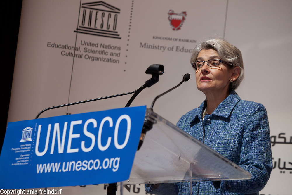 UNESCO - King Hamad Bin Isa Al-Khalifa Prize, for the use of Information and Communication Technologies in Education, Paris, France. Ms Irina Bokova, Director-General UNESCO.