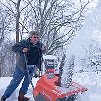 01/28/11 Wilmington DE: Cindy Warden from the Tarleton neighborhood in Wilmington uses a snow blower to remove snow from the front of her home Friday afternoon in Wilmington Delaware....Special to The News Journal/SAQUAN STIMPSON