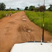 A Plan International 4WD vehicle stuck travelling in Eastern Equatoria in South Sudan on 8 August 2014. During the rainy season, road travel in South Sudan becomes extremely challenging; some parts of the country become completely inaccessible.