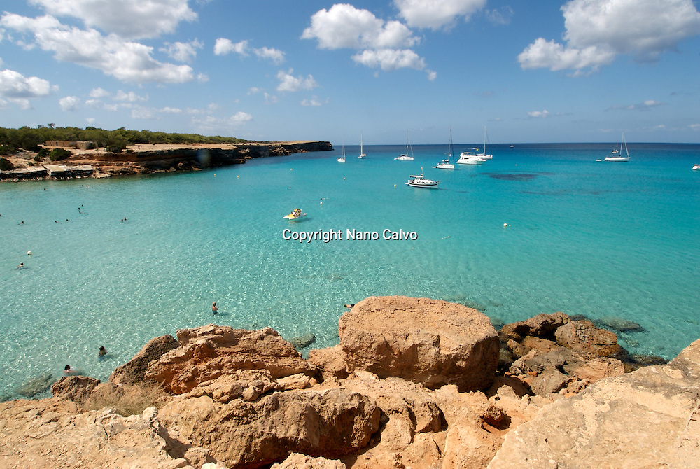 Cala Saona is a lovely little cove beach and situated to the western side of Formentera Island. It is about 200 meters long and has few restaurants and kiosks. This beach is a long way from anywhere in the city and is quiet with locals and tourists strolling to relax and have fun