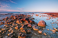 The first signs of sunlight at the Straits of Mackinac<br /> St. Ignace, Michigan