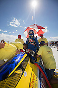 Image of a team preparing for the race at the Bonneville Salt Flats, Utah, American Southwest