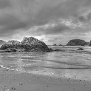 Rocky Shoreline -  Hwy 101 - Whaleshead - Oregon Coast - HDR - Black & White