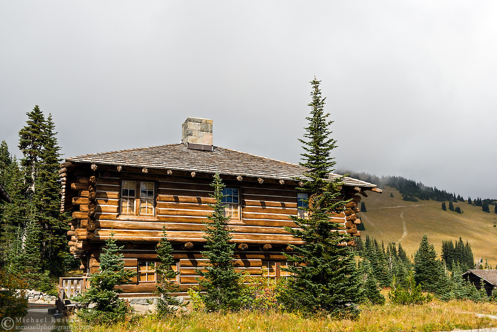 Sunrise Visitor Center building (part of the Yakima Stockade Group) at the Sunrise area in Mount Rainier National Park, Washington State, USA