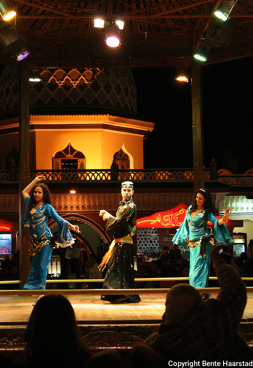Alf Leila Wa Leila, means 1001 night. The place is also called Fantasia and offers shows and meals every night. The male bellydancer is very popular.